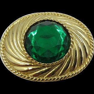 Rare Emanuel Ungaro Paris Gold Tone Green Large Rhinestone Brooch Pin