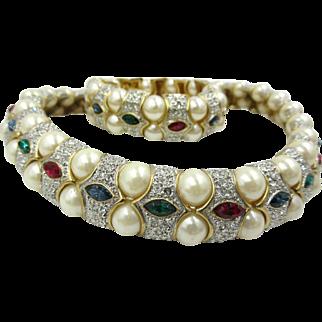 Vtg 80's Mogul Jeweled Rhinestone Choker Necklace & Bracelet Gorgeous Set Unsigned CINER ?