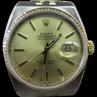 Vintage 1987 Rolex 17013 Oyster Quartz Datejust two Tone 18k Stainless Steel Men's Watch
