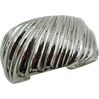 Retired Authentic Tiffany & Co Sterling Silver Swirl Wide Cuff Bracelet Italy