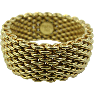 Tiffany & Co. Somerset 18k Yellow Gold 10mm Wide Mesh Band Ring Size 11.5