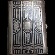 Austro-Hungarian 900 Sterling silver 9k Gold Niello Cigarette case Card Holder