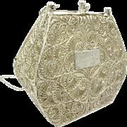Art Nouveau Antique 925 Sterling Silver Handmade Evening Bag Clutch Purse 120 Gr