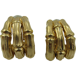 Vintage Chunky Ciner Bamboo Gold tone Clip Earrings