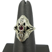 Vintage Art Deco 14k White Gold Old Mine European Diamond & Ruby Women's ring