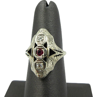 Vintage Art Deco 14k White Gold Old Mine European Diamond & Ruby Women's ring