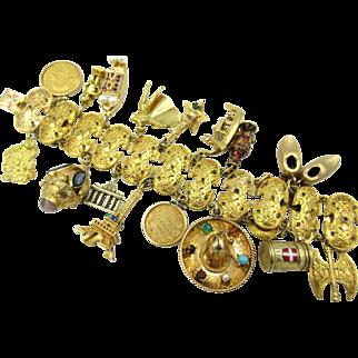 Massive Vintage 18k Yellow Gold Travel 20 Charm Bracelet Gold Coins 150 grams