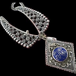 Antique European 800 Silver Cobalt blue Enamel Medallion Bib Necklace