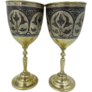 Set Of 2 OLD Antique Russian 875 Silver Niello Kubachi Wine Cups Gold Wash
