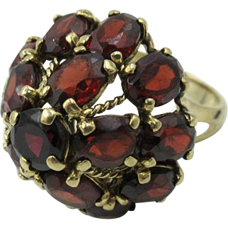 Vintage 14k Yellow Gold 14ct Oval Natural Garnet Bohemian Cluster Women's ring