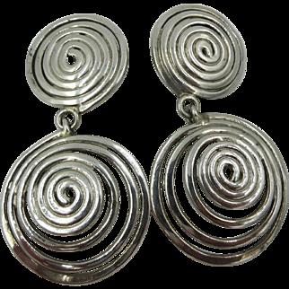 Vintage modernist Moulage Modele Sterling Clip on Swirl Dangle Earrings