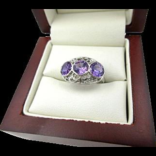 Antique Estate Platinum Iridium 2.50ct Amethyst Art Deco Ring 1930 KON-ITE
