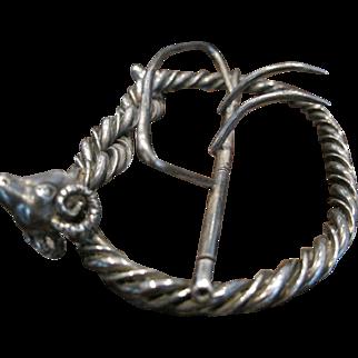 Antique Victorian Edwardian Sterling Silver Rams Head Belt Buckle