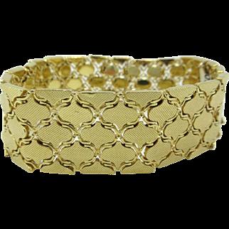 Uno-A-Erre vintage 18 Karat Yellow Gold wide flat multi-link bracelet Italian