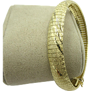 Omega 14k yellow gold Bangle bracelet Textured 18 grams
