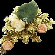 Vintage 14k Gold Carved Coral Jade Pin Brooch Thistle Flower