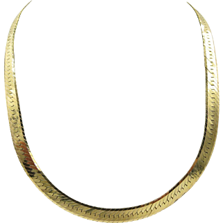 "14K Yellow Gold Herringbone Chain Necklace Italy 20"" long 7.3mm"