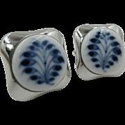 Vintage Royal Copenhagen Porcelain Sterling Silver 925 Cufflinks Danish Denmark