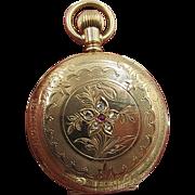 Elgin Gold Filled Fancy Dial Ladies Pocket Watch Hunter Case Diamonds 1900's