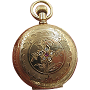 Elgin Gold Filled Fancy Dial Ladies Pocket Watch Hunter Case Diamonds 1900's