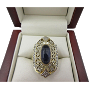 Art Deco 14k Gold Cabochon Blue Sapphire & Diamond Ring Open Work