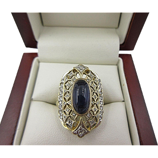 Art Deco 14k Gold Cabochon Blue Sapphire & Diamond Ring Open Work