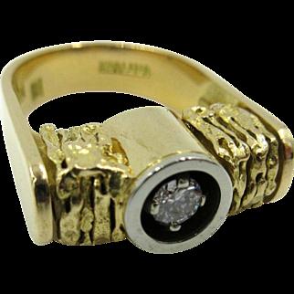 Vintage 18k Yellow Gold Stittgen Solitaire Diamond Ring Karl Stittgen