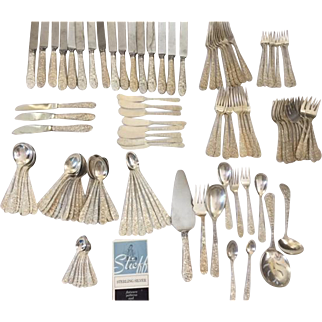 Rose by Stieff Sterling Silver Flatware 127 Piece Set 5500gr