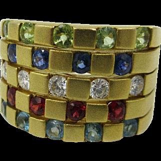 Vntg 18k Yellow Gold .50ct Diamond Sapphire,Ruby.Peridot Aqua Cigar Band Ring