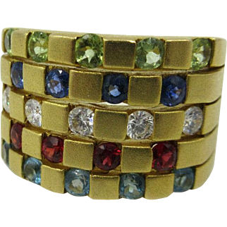 Vntg 18k Yellow Gold .50ct Diamond Sapphire,Ruby.Peridot Aqua Cigar Band Ring