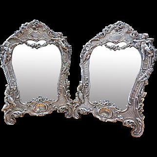 Antique Angels Cherubs Sterling Silver Picture/Photo Frame Signed JR Set of 2