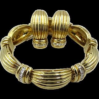 Vintage 18k Gold 5.00ct Diamond Baguette Bracelet Earring Set