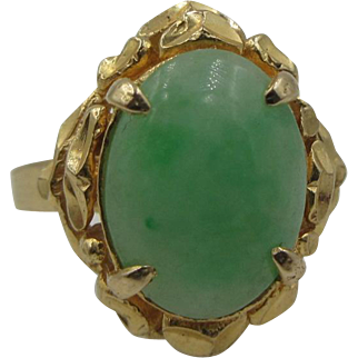 Estate 18k Yellow Gold Natural Jade Ring