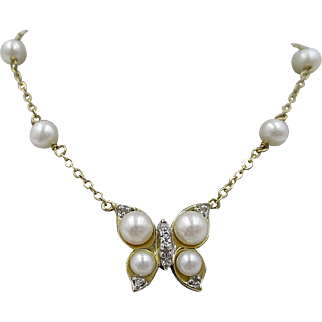 Vintage 14K Gold Diamond & Pearl Butterfly Pendant Necklace
