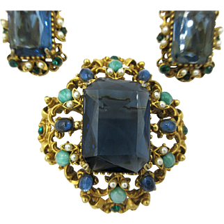 Vintage Florenza Pin Brooch Pendant Earrings Set Mogul Jewels