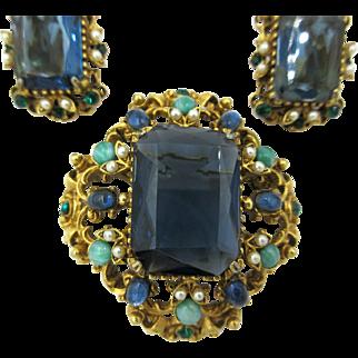 Vintage Florenza Pin Brooch Pendant Earrings Set Mogul Jewels
