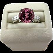 Vintage 2.00ct Pink Tourmaline & Diamonds Ring Platinum Estate Jewelry