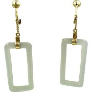 Vintage 14K Yellow Gold Jade Drop Dangle Earrings Asian Chinese