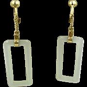 Vintage 14K Yellow Gold Jade Drop Dangle Earrings Asian Chinese