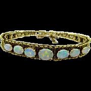Vintage 10.00 ct Australian Opal Bracelet 14K Yellow Gold