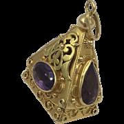 Vintage 18K 750 Gold Large Carnelian Etruscan Pendant Fob Charm 19.6G