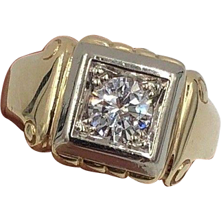 Mens Art Deco 14K Yellow Gold Diamond Solitaire Ring .80cts SI1