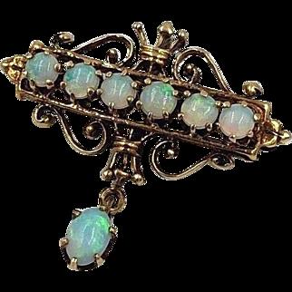 Vintage 14k Gold Australian Opal brooch pin Pendant combo