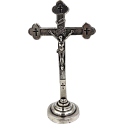 Antique Sterling Silver Standing Crucifix Cross Rare