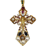 Vintage OOAK 10k Gold diamond, Opal Cross Pendant Semiprecious stone Cameo