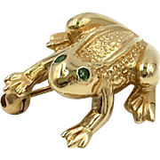 Vintage 14k Yellow Gold Frog Emerald Eyes Pin Brooch Signed Sunlight
