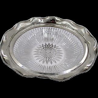 Victorian Sterling Silver Rim Brilliant Cut Crystal Bowl International Silver Co.