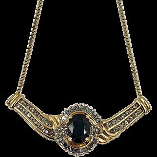 Vintage 14K Gold 1.25ct Sapphire and Diamond baguette Pendant Enhancer necklace
