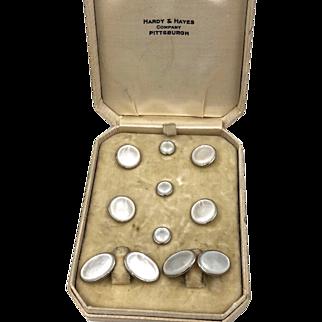Art Deco Larter & Sons 14K Gold Mop Cufflinks Button set