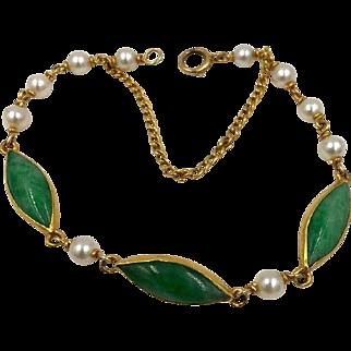 Vintage Chinese 24K Pure Gold Bracelet Jadeite Jade and Pearl Bracelet